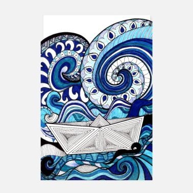 Watersport Blue Sea & Boat Poster Design - Poster 20x30 cm