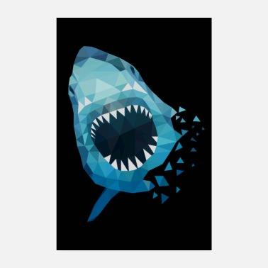 Great White Shark SHARK ATTACKE GIFT ANGLER SEA PREDATOR HAWAII - Poster