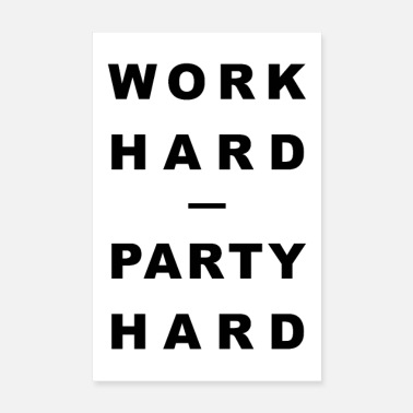 Fitness TRAVAIL DUR - PARTY HARD - Poster 20 x 30 cm