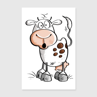 Funny cartoon cow - cows - Poster 8 x 12