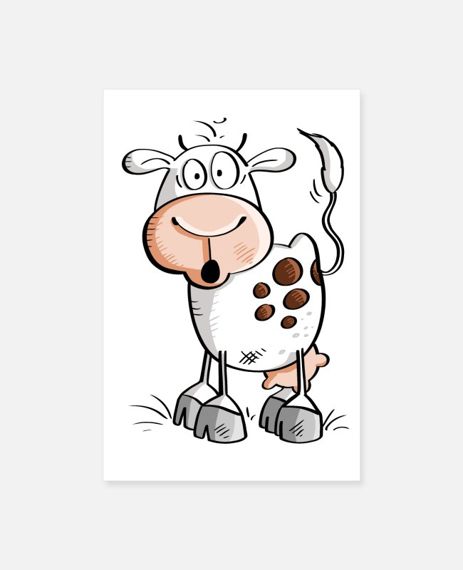 Dairy Cow Posters - Funny cartoon cow - cows - Posters white