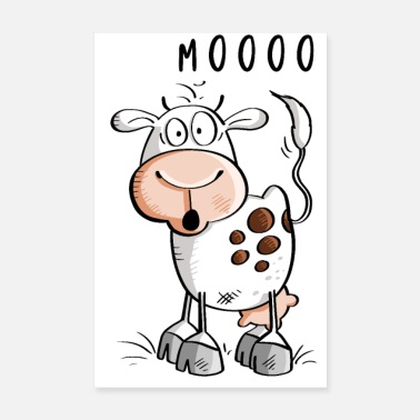 Udder Mooo cow cartoon - cows - Poster