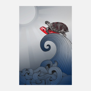 Sea Sea turtle surfboard - Poster