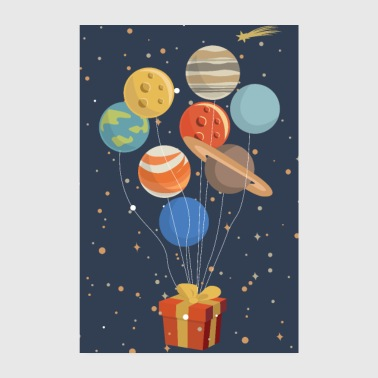 Planets as balloons on a present - Poster 8 x 12