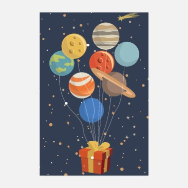 Present Planets as balloons on a present - Poster 8 x 12