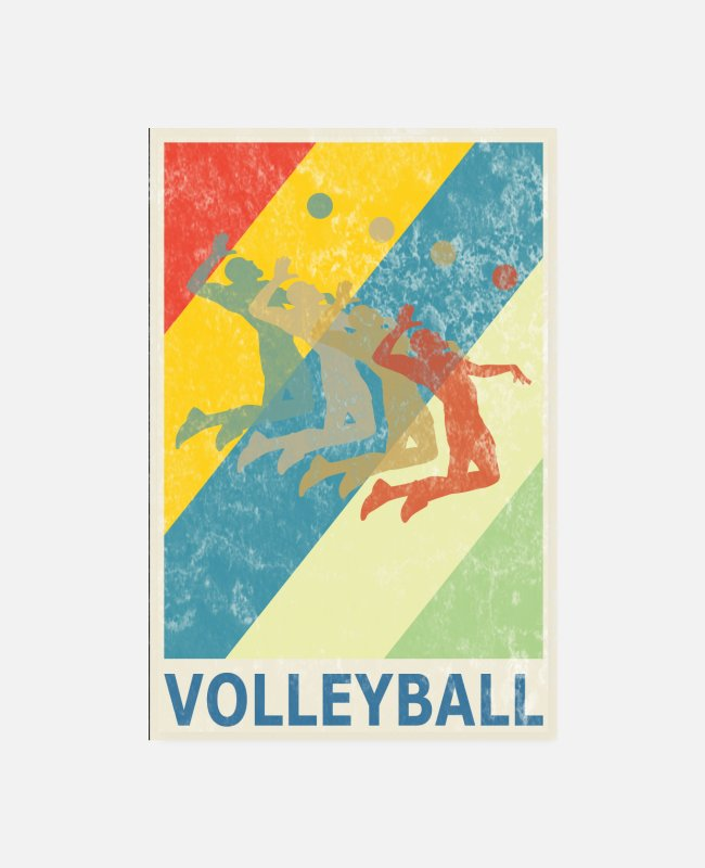 Ball Posters - Retro Vintage Style Beach Volleyball Player - Posters white