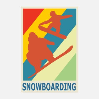 Freestyle Vintage Retro Style Snowboarding Snowboarder Sport - Poster 8 x 12