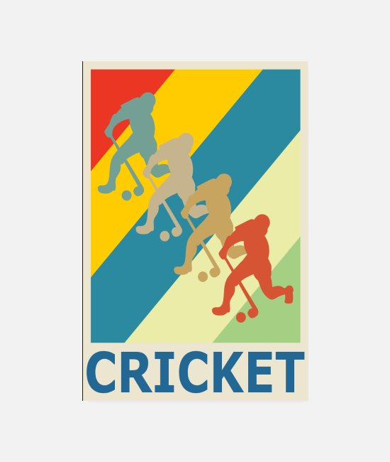 Ball Posters - Retro Vintage Style Cricket Player Sport - Posters white