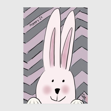 Happy Rabbit Girl - Poster 20 x 30 cm