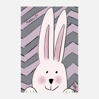 Girlie Happy Rabbit Girl - Poster 20 x 30 cm