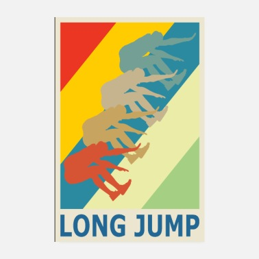 Sprinting Retro Vintage Style Long Jump Wide Jump - Poster