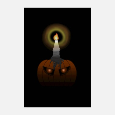 Pumpkin Affiche Spooky Pumpkin avec Glowing Aug (Halloween) - Poster