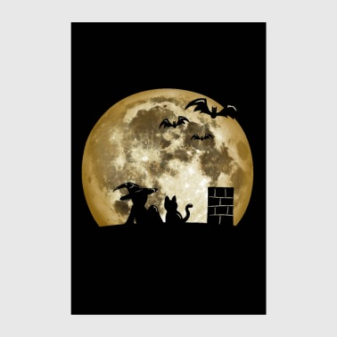0014 Witch, Moon, Cat, Bats (Poster) - Poster 8 x 12