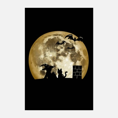 Emo 0014 Witch, Moon, Cat, Bats (juliste) - Juliste 20x30 cm