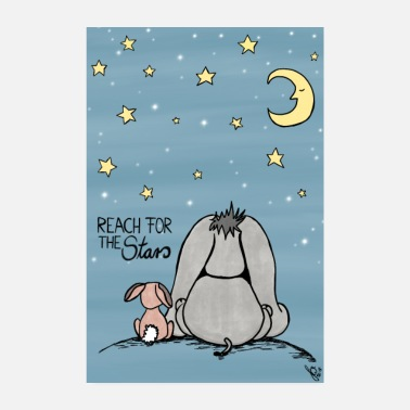 Lapin Reach for the Stars de Happy J, âne et lapin - Poster