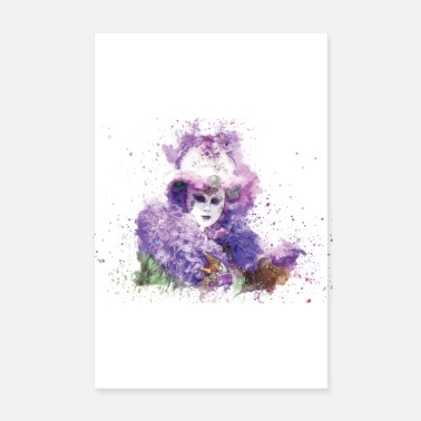Strike Mask Carnival Venice White Purple - Poster 8 x 12