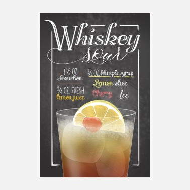 Bar Pub Whiskey Sour Cocktail Bar Recipe Gift - Poster 8 x 12
