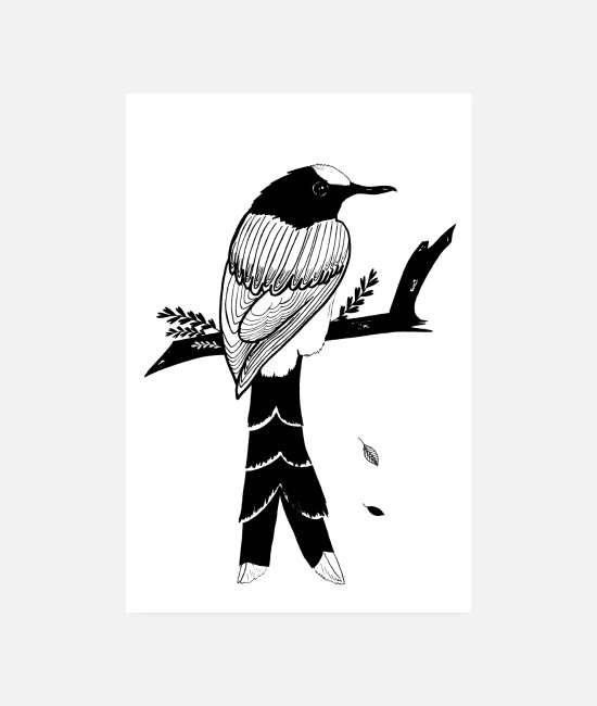 Nature Posters - Black Bird Poster - Posters white