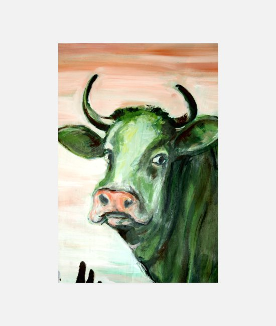 Nature Posters - green cow art expressionism acrylic painting oil n - Posters white