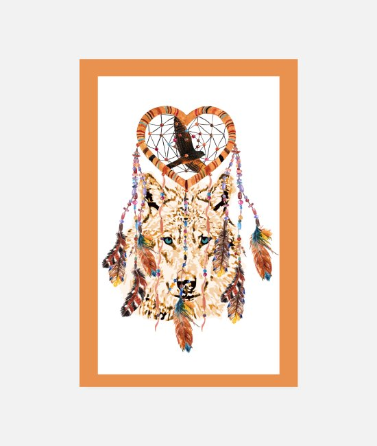 Dream Catcher Posters - Poster Wolf - Dreamcatcher - Hawk - Heart Feathers (b - Posters white