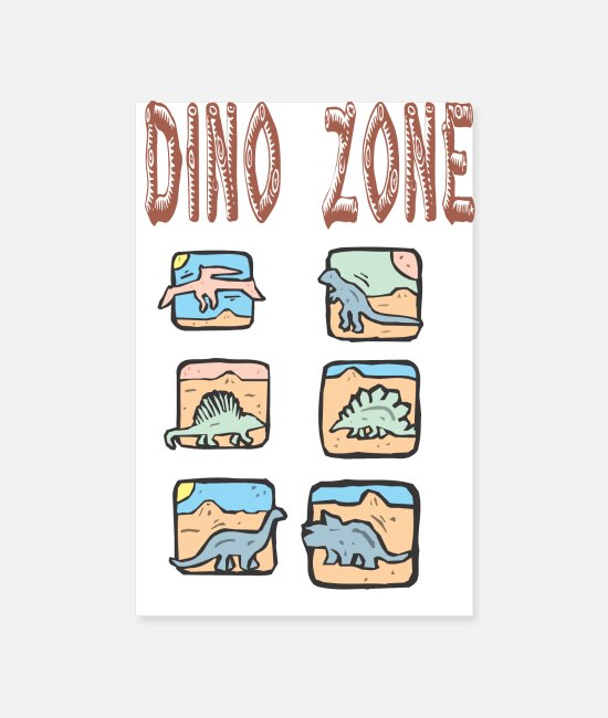 Bronsttijd Posters - Dino Zone - Posters wit