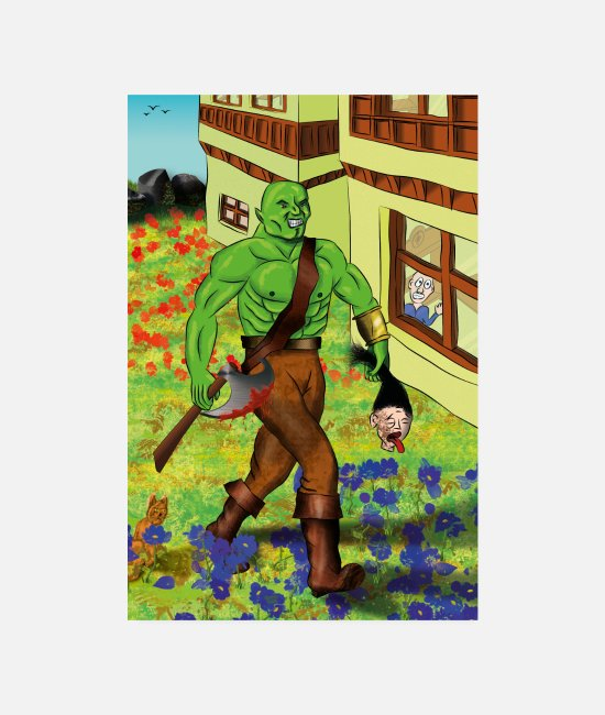 Orc Posters - Brutal orc in a peaceful place - Posters white