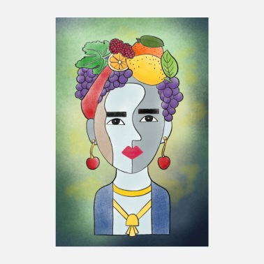 Frida with fruits - Poster