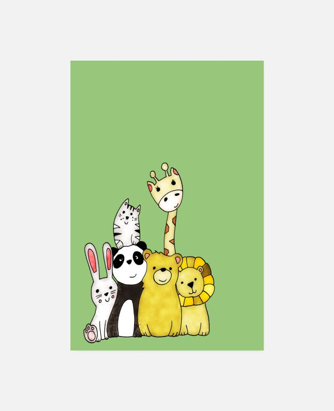 Nature Conservation Posters - cute animal friends for the nursery - Posters white