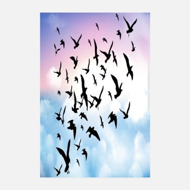Sky Vögel fliegen über Lila Wolken Birds flying on sky - Poster