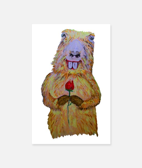 Love Posters - Marmot with a rose - Posters white