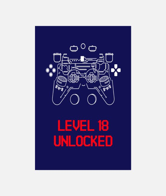 Controller Posters - Level 18 unlocked for Gamer Happy Birthday Birth - Posters white