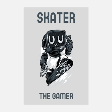 Skateboard Rolig Skater the Gamer - Poster