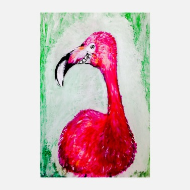Flamenco fröhlicher Flamingo in Pink - Poster
