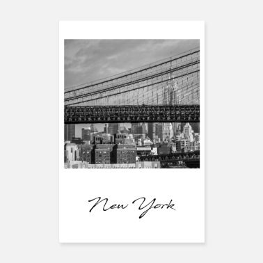 United States Empire State Building et Brooklyn Bridge - Poster
