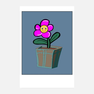 Flower Pot Flower pot with pink smile flower - Poster