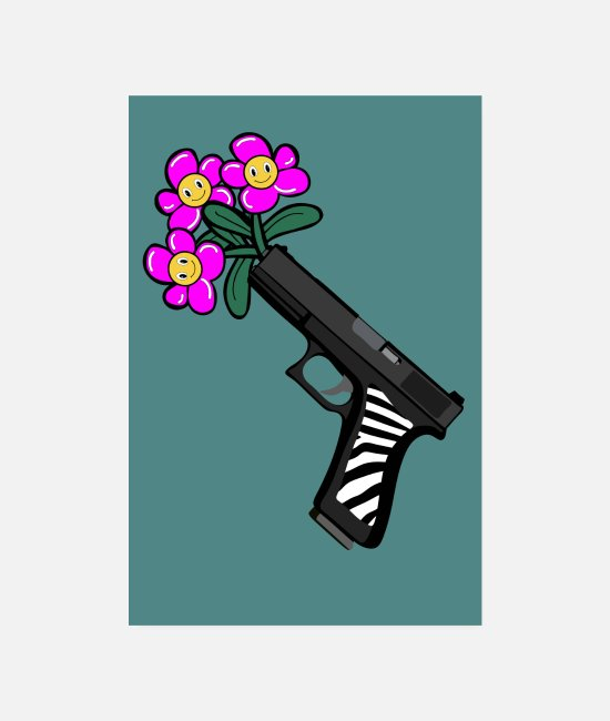 Blumenstrauß Poster - Pistol with pink flowers in the barrel - Poster Weiß