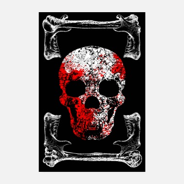 Bloody Skull and Bones - bloody - Poster
