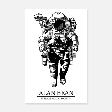 Astronaut Alan Bean poster on white background - Poster