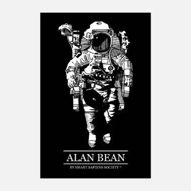 Astronaut Alan Bean poster on black background - Poster