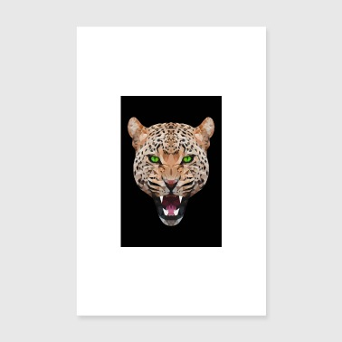 Leopard GEPARD LEOPARD RUG CAT ANIMAL HEAD GIFT CAT - Poster 8 x 12