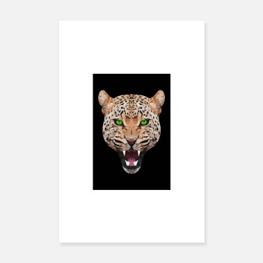 Leopard GEPARD LEOPARD RUG CAT ANIMAL HEAD GIFT CAT - Poster 20x30 cm