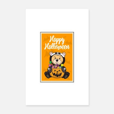 Mummy Halloween pumpkin candy bear - Poster 8 x 12