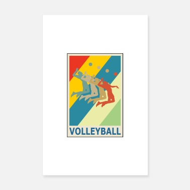 Recreational Retro Vintage Style Beach Volleyball Player - Poster 8 x 12