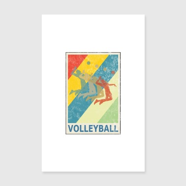Retro Vintage Style Beach Volleyball Player - Poster 8 x 12
