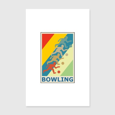 Retro vintage bowling bowling spiller bowling bold - Poster 20x30 cm
