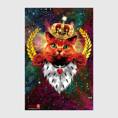 10 Red Cat King Crown rote Katze König Krone Gold - Poster 20x30 cm