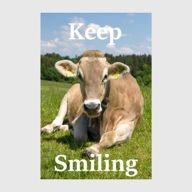Keep Smiling - Kuh - Poster 20x30 cm