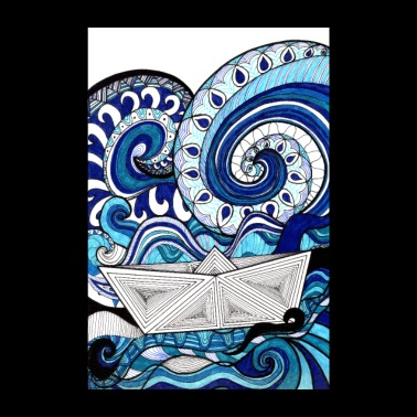 Blue Sea & Boat Poster Design - Poster 8 x 12
