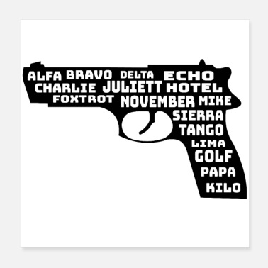 Alphabet Gun pistol nato words weapon - Poster 20x20 cm