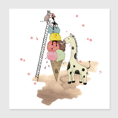 Wildlife Icecream Juliste - Juliste 20 x 20 cm